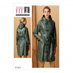 V1564 Misses' Raincoat with Hood and Belt (size: A-B-C-D-E-F-G-H-I-J)