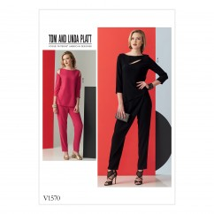 V1570 Misses' Open-Detail Top and Pants with Overlay Variation (size: 14-16-18-20-22)