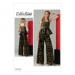 V1572 Misses' Sleeveless Peplum Top and Wide Leg Pants (size: 14-16-18-20-22)