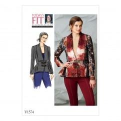 V1574 Misses' Jacket with Shawl Collar (size: All Sizes in One Envelope)