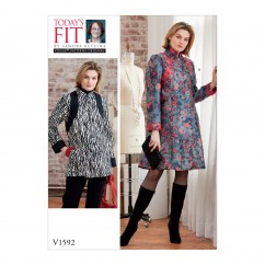 V1592 Misses' Coat Dress and Top (size: One Size Only)