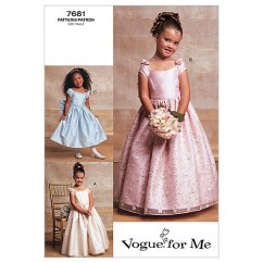V7681 - Children's/Girls' Lined, Evening Or Lower Calf Length Dress (size: 6-7-8)
