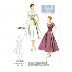 V9105 - Misses' Dress and Sash (Size: 14-16-18-20-22)