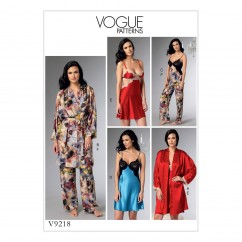 V9218 Misses' Banded Robe with Belt, Lace-Detail Camisole/Nightgowns and Pants (size: 6-8-10-12-14)