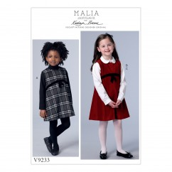 V9233 Children's/Girls' Raised-Waist Jumpers and Peter Pan Collar Blouse (size: 3-4-5-6)