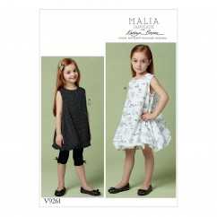 V9261 Children's/Girls' Tunic and Dress with Bubble Hem, and Pull-On Leggings (size: 2-3-4-5)