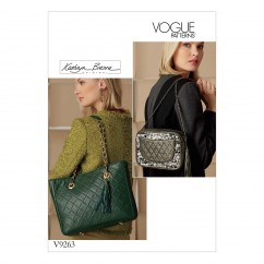 V9263 Handbags with Quilted Front and Inside Pocket Options (size: One Size Only)