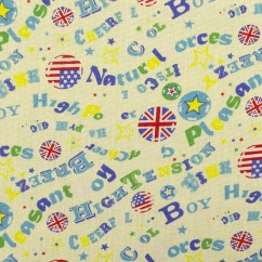 MIMI Cotton Seersucker - British flag - Yellow