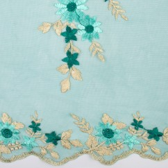 AMORE Embroidered Mesh - Teal