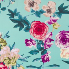 BLOSSOMY Stretch Sateen - Florals - Turquoise / Purple