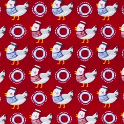 A WHALE OF A TIME Printed cotton by Studio E Fabrics - Seagull - Red