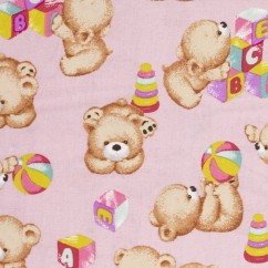 BEAR HUGS printed cotton - Teddy bear - Pink