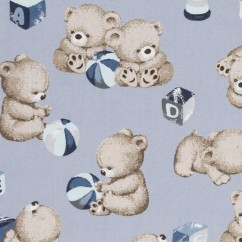 BEAR HUGS printed cotton - Teddy bear - Blue