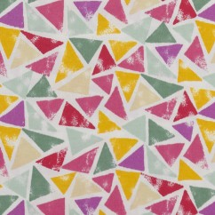 BEAR HUGS printed cotton - Triangles - Pink