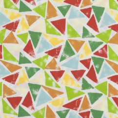 BEAR HUGS printed cotton - Triangles - Green