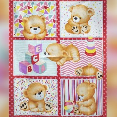 "BEAR HUGS printed cotton - Panel - 36"" X 44"" (90cm X 112cm) - Pink"