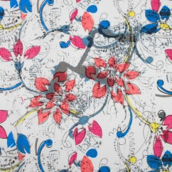 LARA Printed Linen - Florals - Red