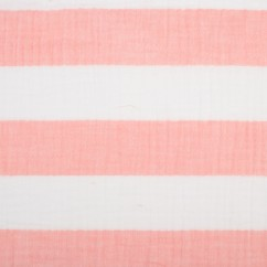 Printed Double Gauze - Stripe - Pink
