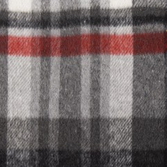 Kashmir Plaid Jacketing - Plaid - Grey / Red