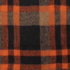 Kashmir Plaid Jacketing - Plaid - Orange / Black