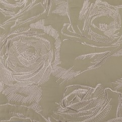 Embroidered Quilted Jacketing - Beige