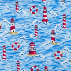 BEACH VIEW Printed Cotton - Lighthouse - Navy / Red