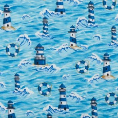BEACH VIEW Printed Cotton - Lighthouse - Turquoise / Navy