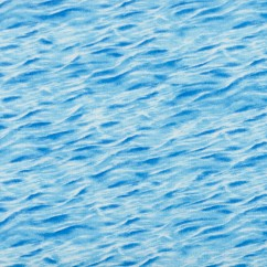 BEACH VIEW Printed Cotton - Waves - Turquoise