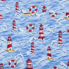 BEACH VIEW Printed Cotton - Lighthouse - Blue / Red