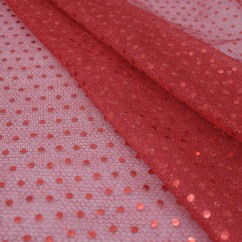 Spangle Knit - Red mesh with red dot
