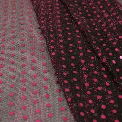 Spangle Knit - Black mesh with pink dot