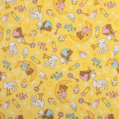 Quilted Vinyl - Stork - Yellow