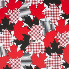 Maple Leaf Cotton Print - Gingham - Red / White