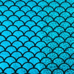 Metallic Knit - mermaid scale - Blue