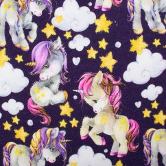 DIGITAL Printed Sweatshirt Fleece - Unicorn - Purple