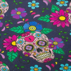 EUROPEAN - Cotton French Terry Print - Skulls - Navy
