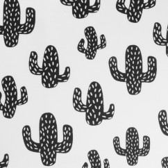 EUROPEAN - Cotton French Terry Print - Cactus - White