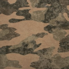 EUROPEAN - Cotton French Terry Print - Camouflage - Green