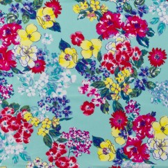 Bathing Suit Print - Florals - Aqua