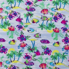 Bathing Suit Print - Fish - Blue