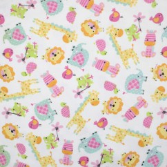 Abbey Printed Flannelette - Baby Animals - White