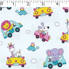 Abbey Printed Flannelette - Animals and cars - Mist
