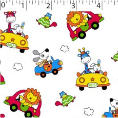 Abbey Printed Flannelette - Animals and cars - Primary