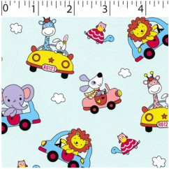 Abbey Printed Flannelette - Animals and cars - Mint