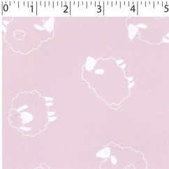 Abbey Printed Flannelette - Sheep - Pink