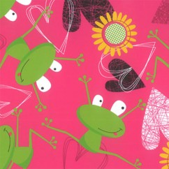 Abbey Printed Flannelette - Frog - Pink