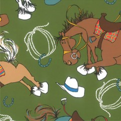 Abbey Printed Flannelette - Horses - Green