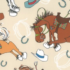 Abbey Printed Flannelette - Horses - Beige