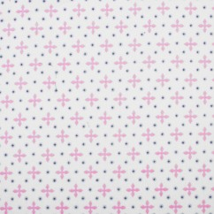 Abbey Printed Flannelette - Cross - Pink