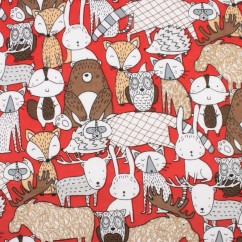 Abbey Printed Flannelette - Animals - Red